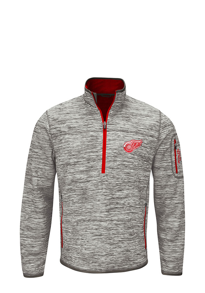 Detroit Red Wings Mens Grey Fast Pace Long Sleeve 1/4 Zip Pullover - Image 1