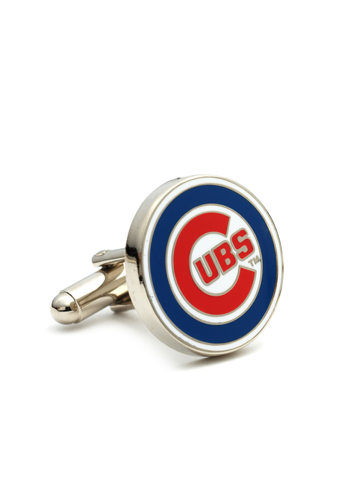 Chicago Cubs Silver Plated Mens Cufflinks - Image 1
