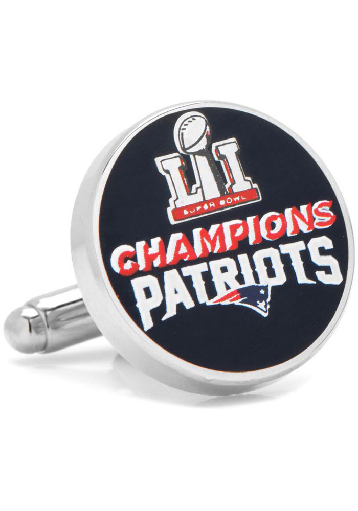 New England Patriots 2017 Super Bowl Champions Silver Plated Mens Cufflinks - Image 1
