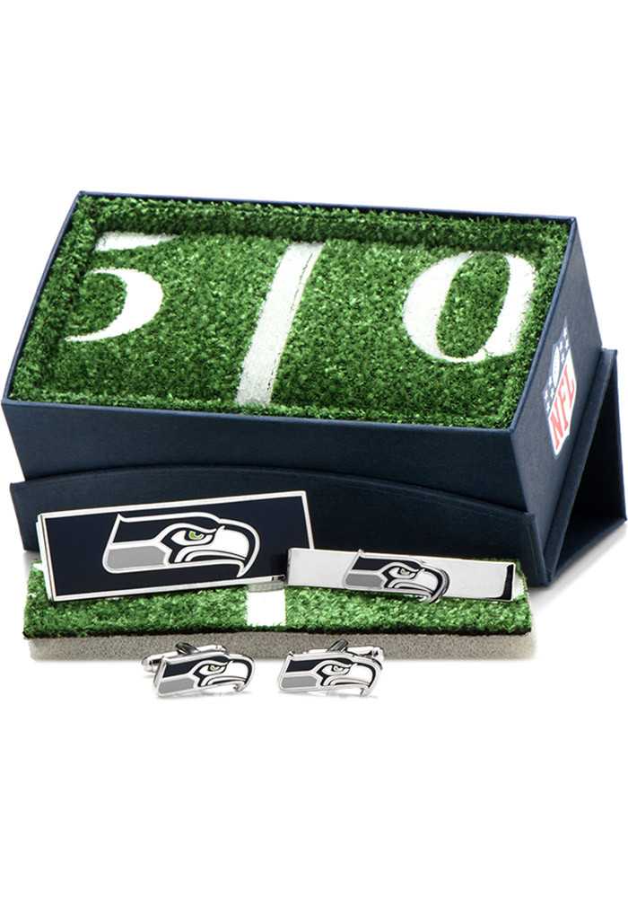 Seattle Seahawks Silver Plated Mens Cufflinks - Image 1