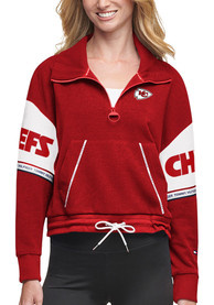 Kansas City Chiefs Womens Tommy Hilfiger 1/2 Zip Mock 1/4 Zip Pullover - Red