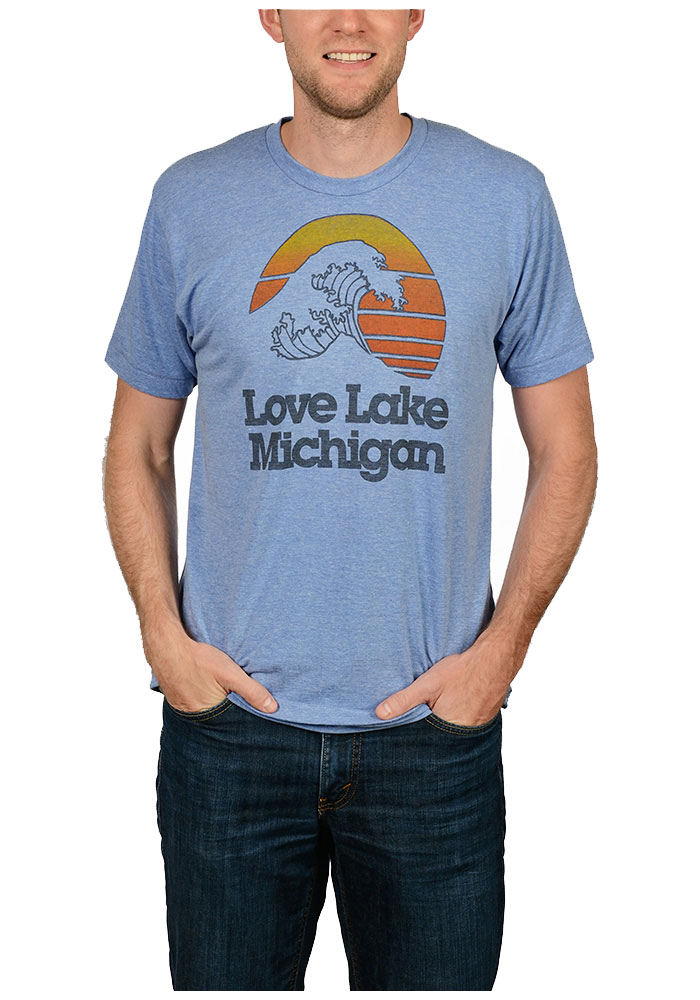 The Mitten State Michigan Light Blue Lake Michigan Short Sleeve T Shirt - Image 1