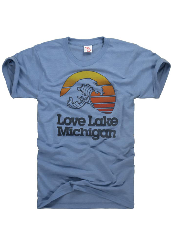 The Mitten State Michigan Light Blue Lake Michigan Short Sleeve T Shirt - Image 3