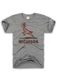 The Mitten State Michigan Grey Deer Crossing Short Sleeve T Shirt