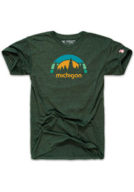 The Mitten State Michigan Green Outdoors Short Sleeve T Shirt
