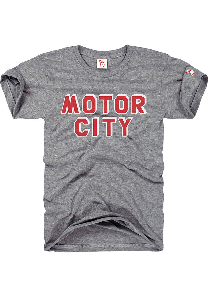 The Mitten State Detroit Grey Motor City Short Sleeve T Shirt - Image 1