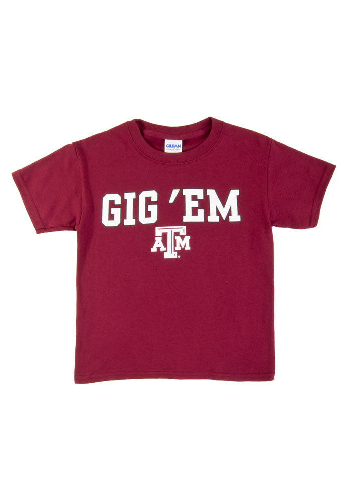 Texas A&M Aggies Youth Maroon Gig `Em Short Sleeve T-Shirt - Image 1