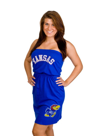 Original Retro Brand Kansas Jayhawks Womens Blue Strapless Dress