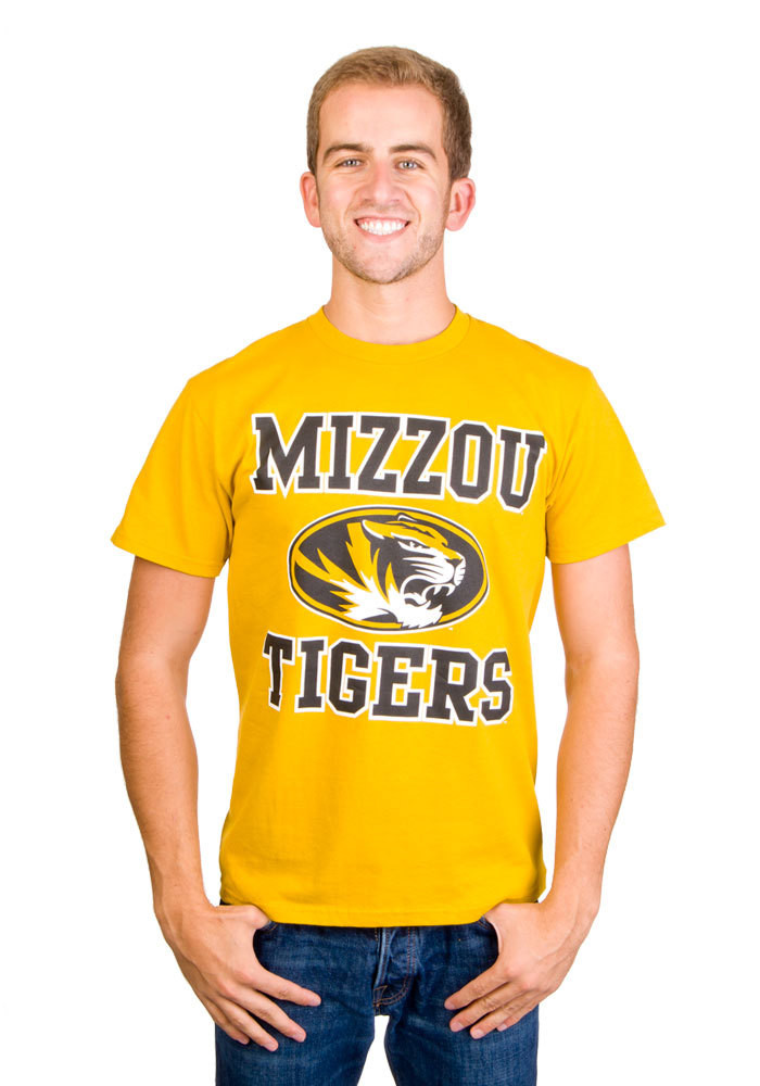 Majestic Missouri Tigers Mens Gold #1 Design Short Sleeve T Shirt - Image 1