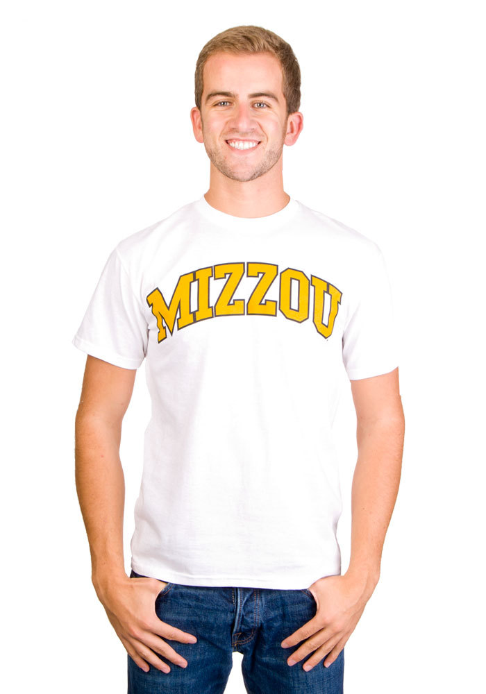Majestic Missouri Tigers Mens White Arch Short Sleeve T Shirt - Image 1