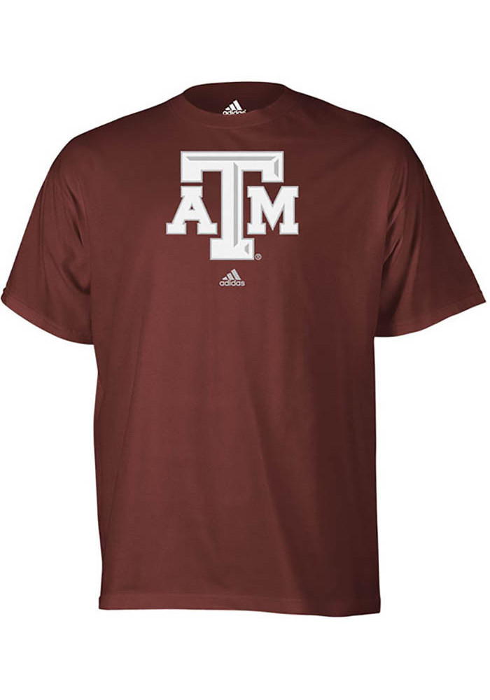 Adidas Texas A&M Aggies Mens Maroon School Logo Short Sleeve T Shirt - Image 1
