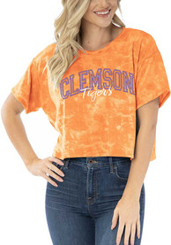 Clemson Tigers Womens Kimberly Tie Dye Cropped T-Shirt - Orange