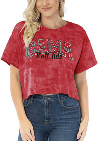Alabama Crimson Tide Womens Kimberly Tie Dye Cropped T-Shirt - Red