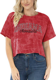 Indiana Hoosiers Womens Kimberly Tie Dye Cropped T-Shirt - Red