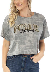 Purdue Boilermakers Womens Kimberly Tie Dye Cropped T-Shirt - Grey