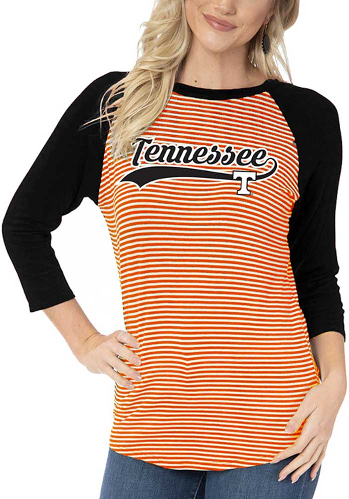 Tennessee Volunteers Womens Orange Leah Striped Baseball Long Sleeve T-Shirt - Image 1