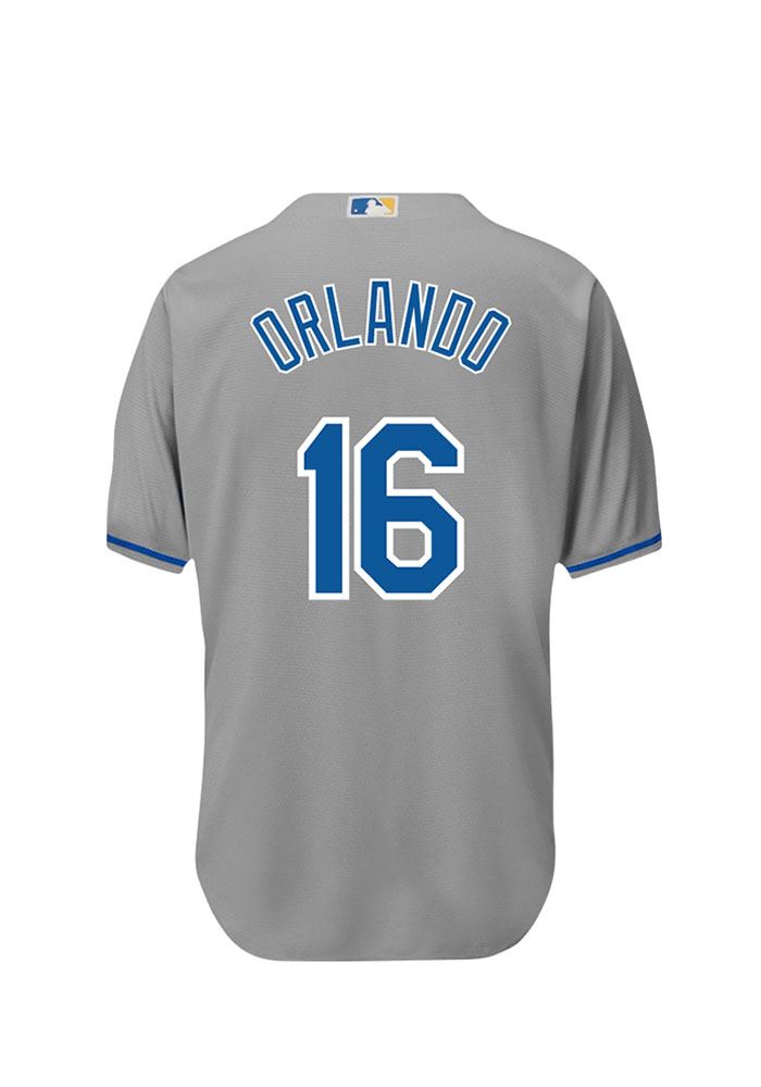 Paulo Orlando 16 Kansas City Royals Mens Grey Player Replica Jersey - Image 1