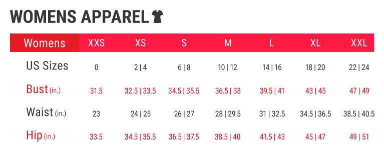 Womens Apparel Size Charts