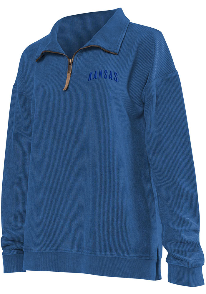 Kansas Jayhawks Womens Corded Quarter Blue 1/4 Zip Pullover