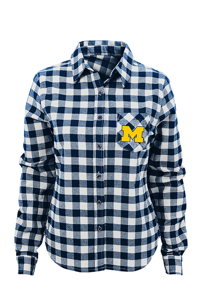 Michigan Wolverines Womens Buffalo Plaid Long Sleeve Navy Blue Dress Shirt