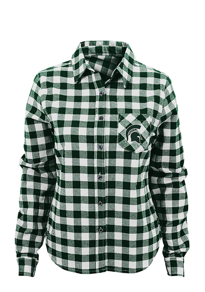 Michigan State Spartans Womens Buffalo Plaid Long Sleeve Green Dress Shirt