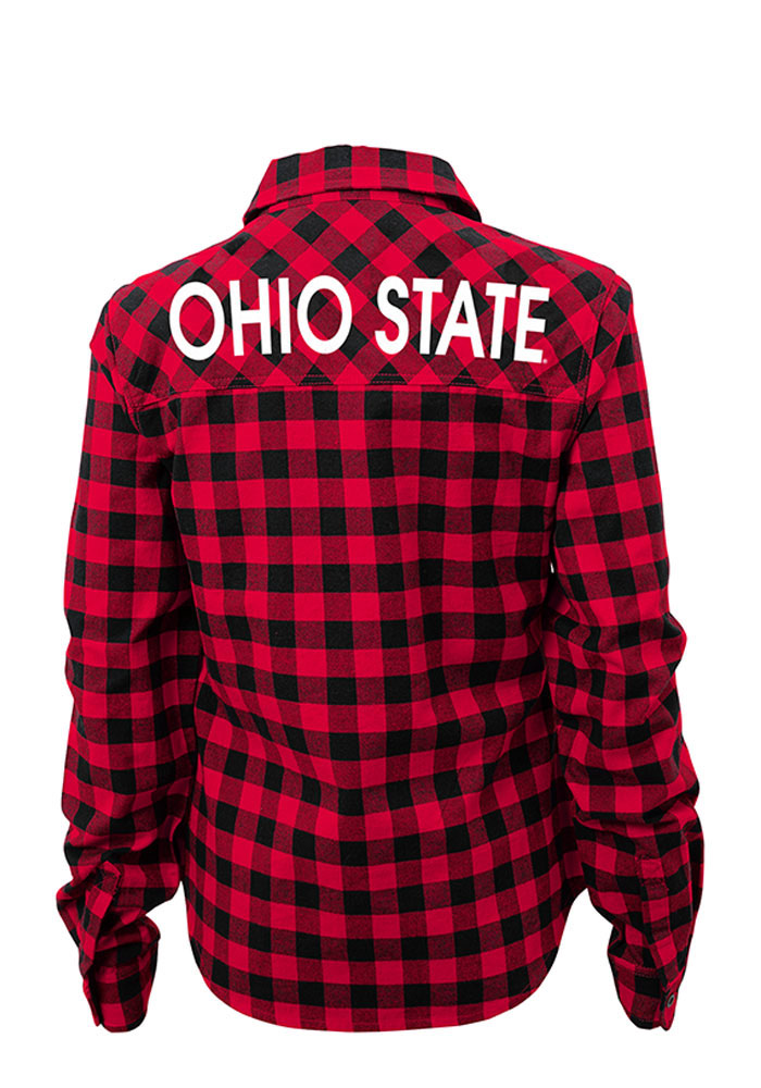 Ohio State Buckeyes Womens Buffalo Plaid Long Sleeve Red Dress Shirt