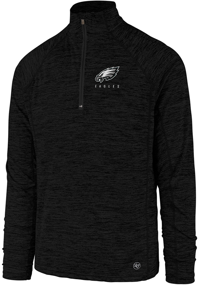 '47 Philadelphia Eagles Black Impact 1/4 Zip Pullover