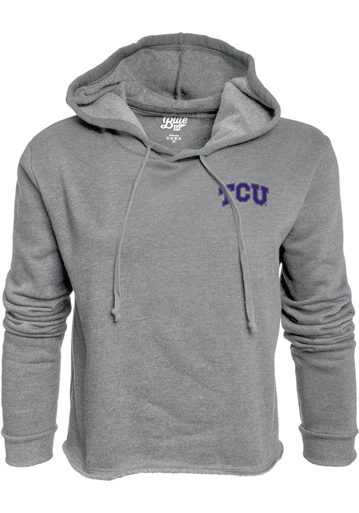 TCU Horned Frogs Womens Grey Cassie Prime Rate Cropped Hoodie
