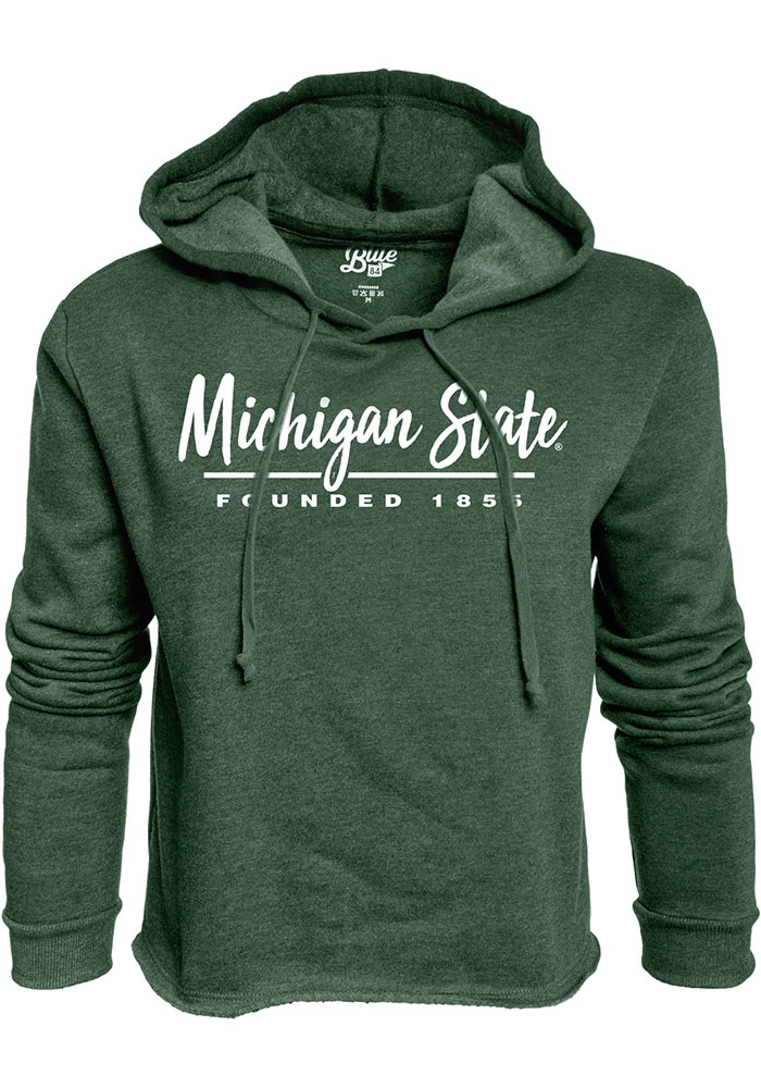 Michigan State Spartans Womens Green Cassie High Jinks Cropped Hoodie