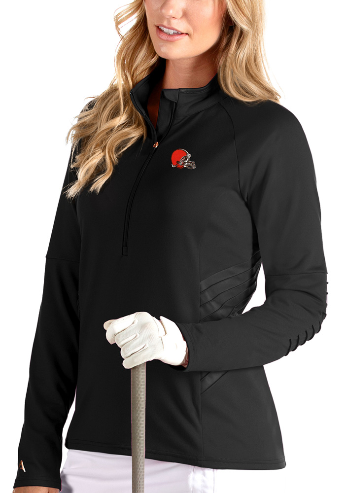 Antigua Cleveland Browns Womens Luxe Black 1/4 Zip Pullover