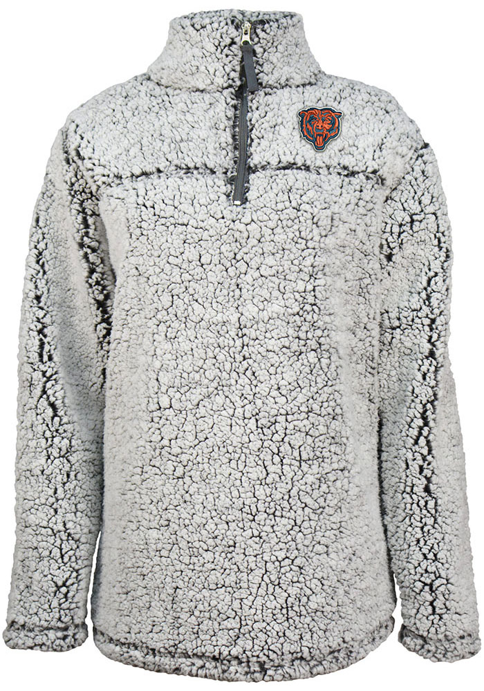 Chicago Bears Womens Sherpa Grey 1/4 Zip Pullover