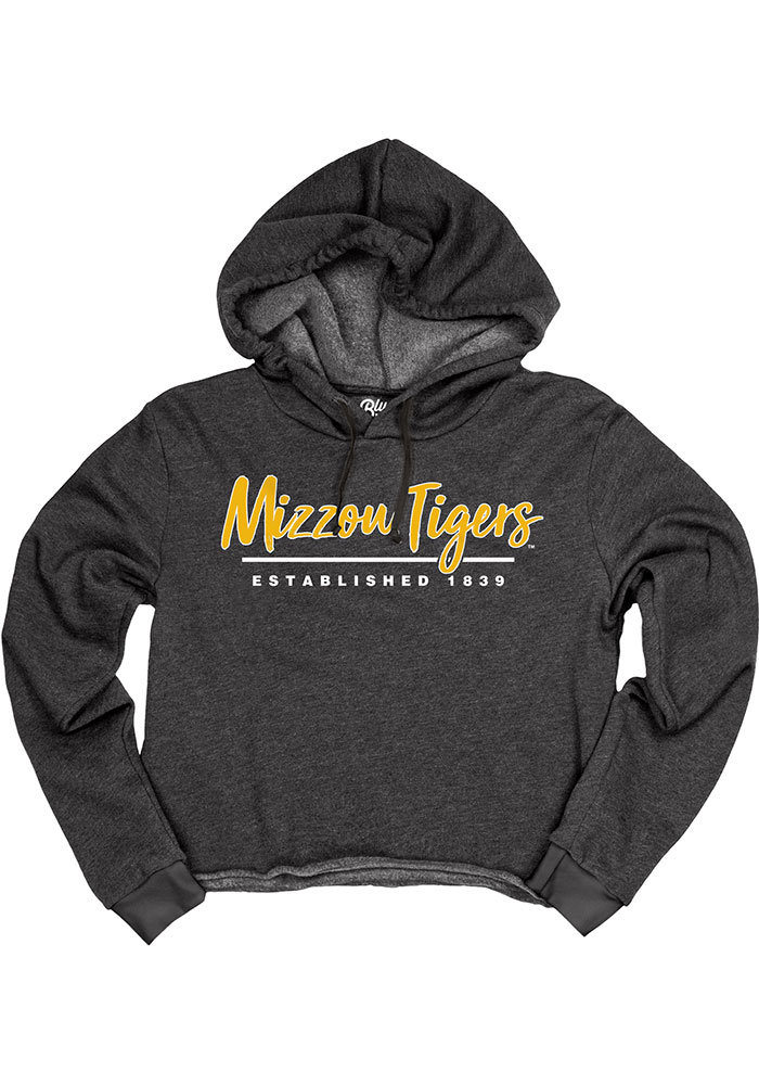 Missouri Tigers Womens Black Cassie High Jinks Cropped Hoodie