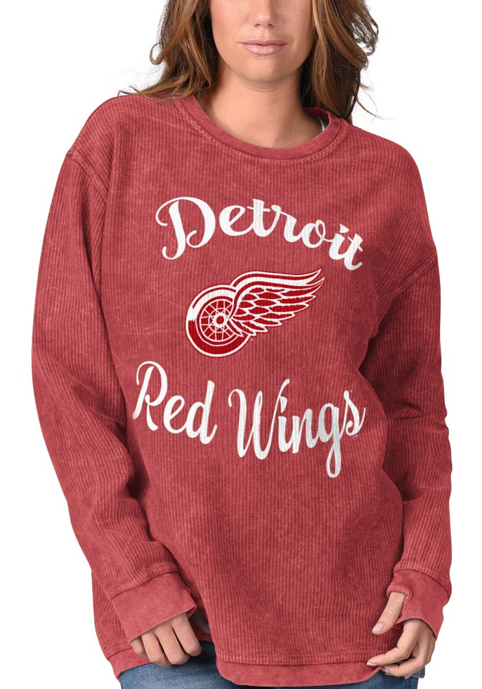 Detroit Red Wings Womens Julie Comfy Cord Red Crew Sweatshirt