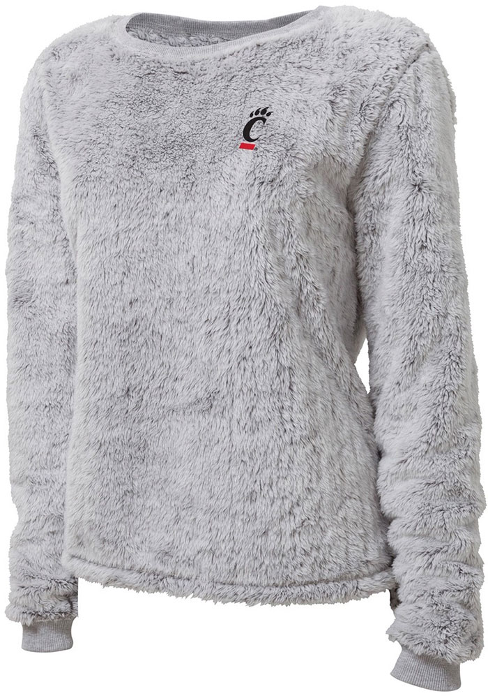 Cincinnati Bearcats Womens Fuzzy Fleece Grey Crew Sweatshirt