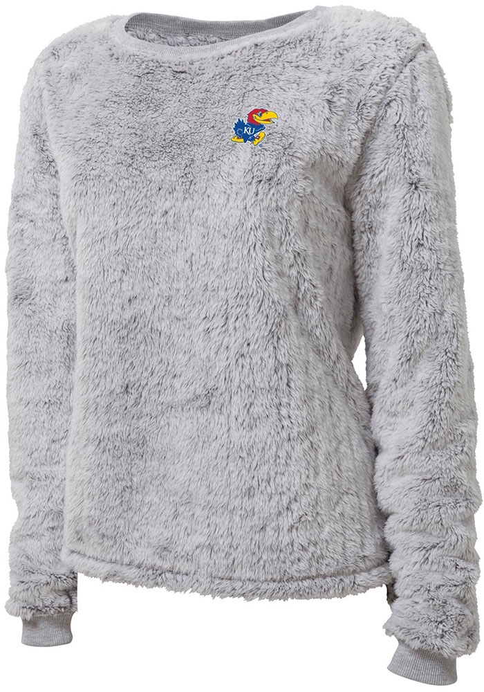 Kansas Jayhawks Womens Fuzzy Fleece Grey Crew Sweatshirt