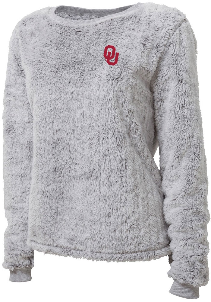 Oklahoma Sooners Womens Fuzzy Fleece Grey Crew Sweatshirt