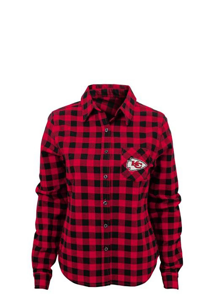 Kansas City Chiefs Womens Buffalo Plaid Long Sleeve Red Dress Shirt