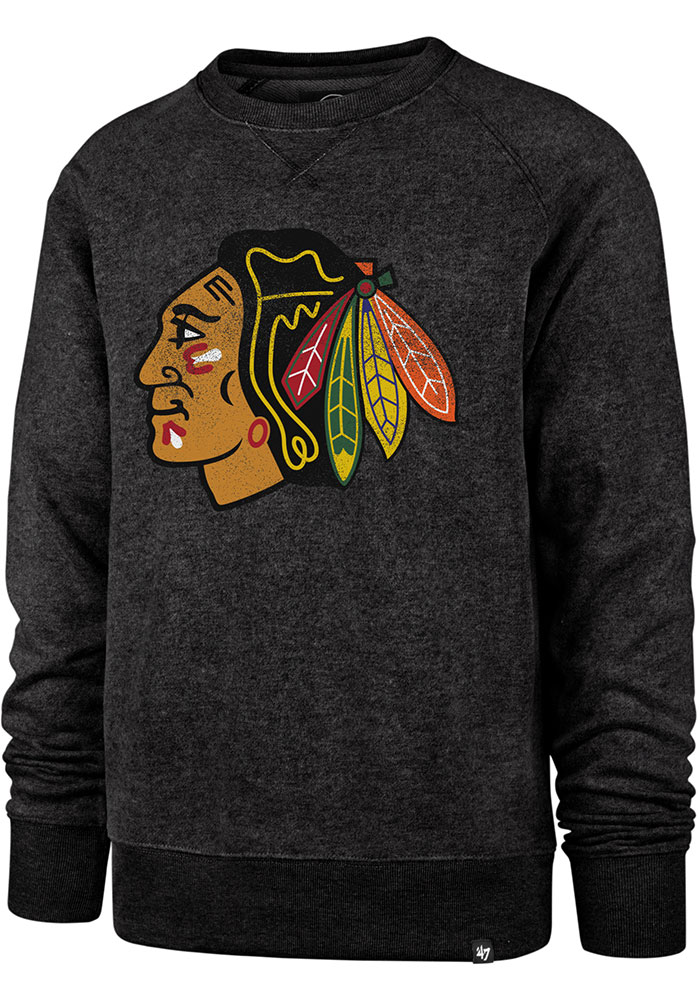 '47 Chicago Blackhawks Black Imprint Match Fashion Sweatshirt