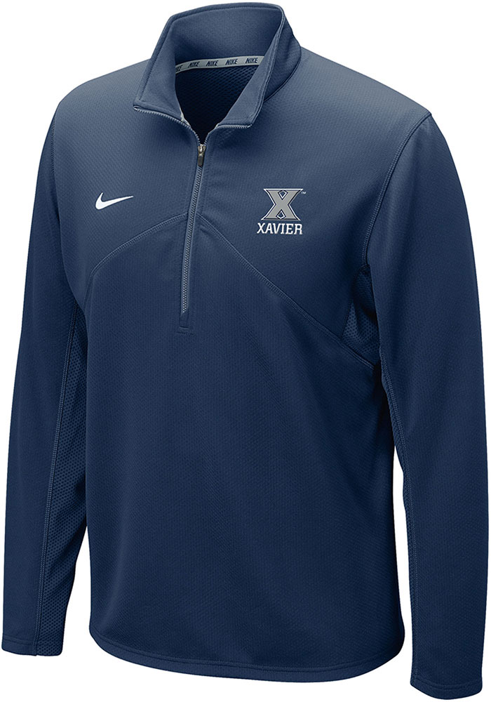 Nike Xavier Musketeers Navy Blue DriFit Training 1/4 Zip Pullover