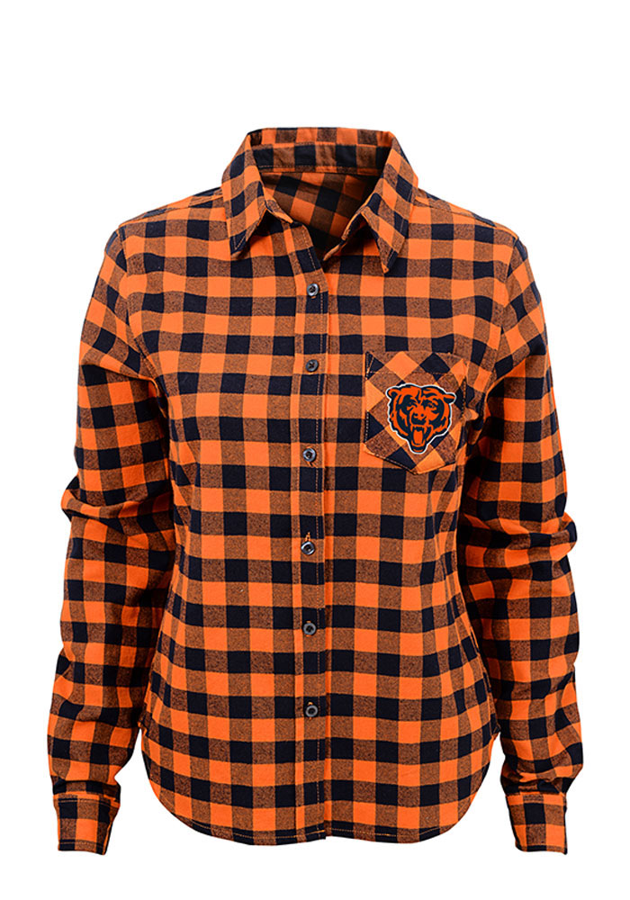 Chicago Bears Womens Buffalo Plaid Long Sleeve Orange Dress Shirt