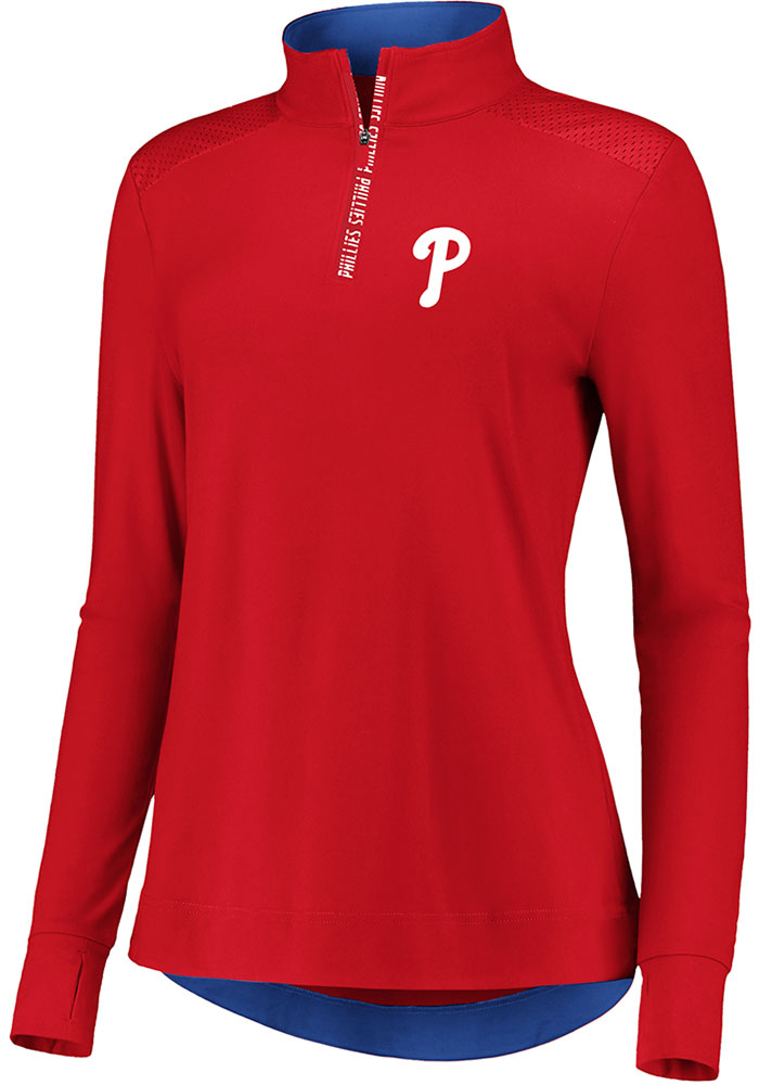 Philadelphia Phillies Womens Iconic Clutch Red 1/4 Zip Pullover