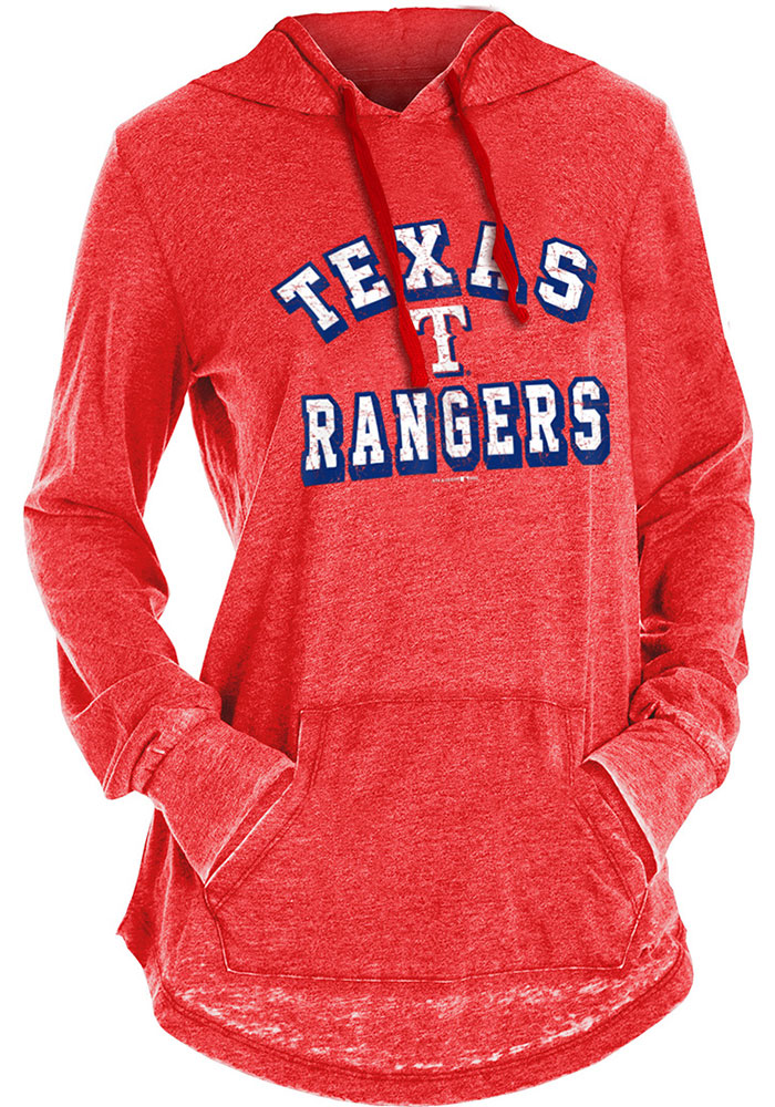 Texas Rangers Womens Red Burnout Wash Hoodie