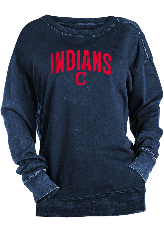 Cleveland Indians Womens Mineral Wash Pullover Navy Blue Crew Sweatshirt