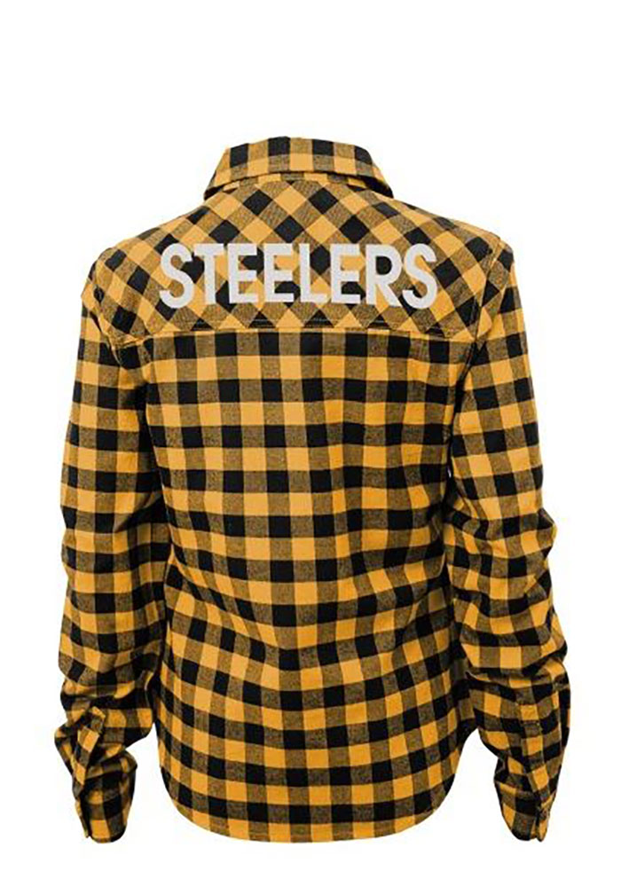 Pittsburgh Steelers Womens Buffalo Plaid Long Sleeve Gold Dress Shirt
