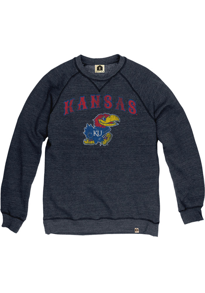 Kansas Jayhawks Navy Blue Arch Mascot Fashion Sweatshirt
