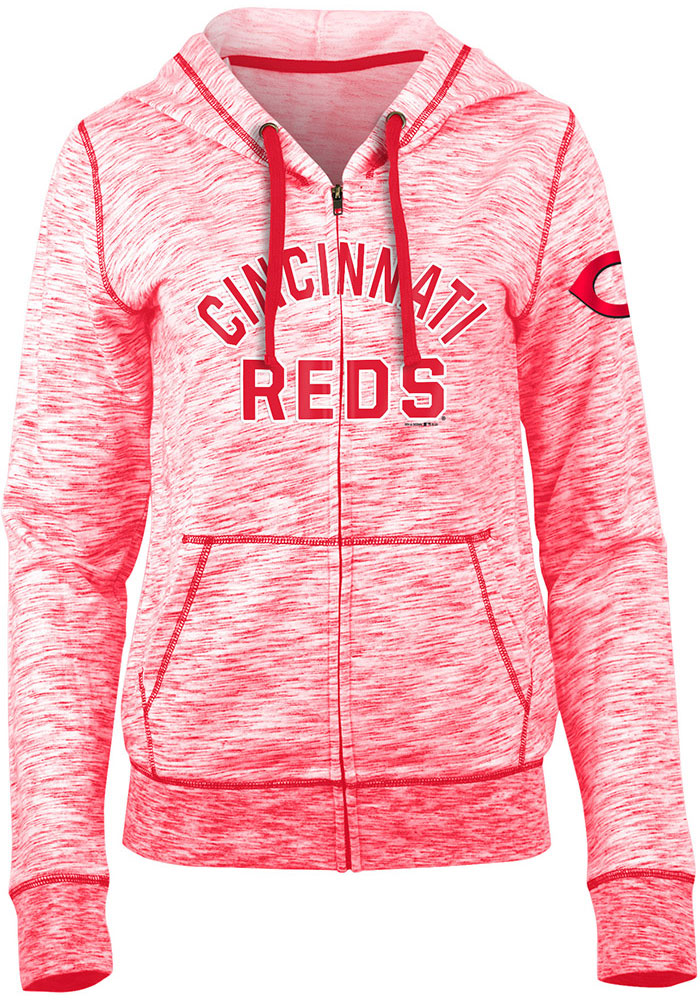 Cincinnati Reds Womens Red Novelty Space Dye Full Zip Jacket