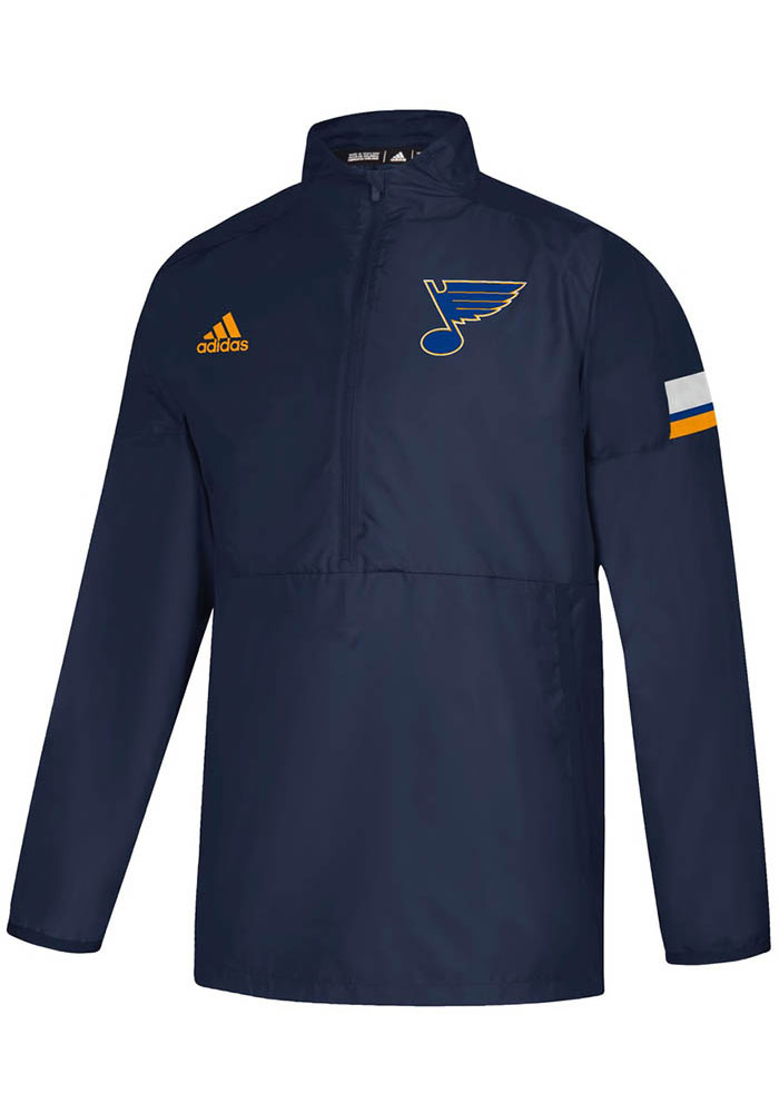 Adidas St Louis Blues Navy Blue Game Mode 1/4 Zip Pullover