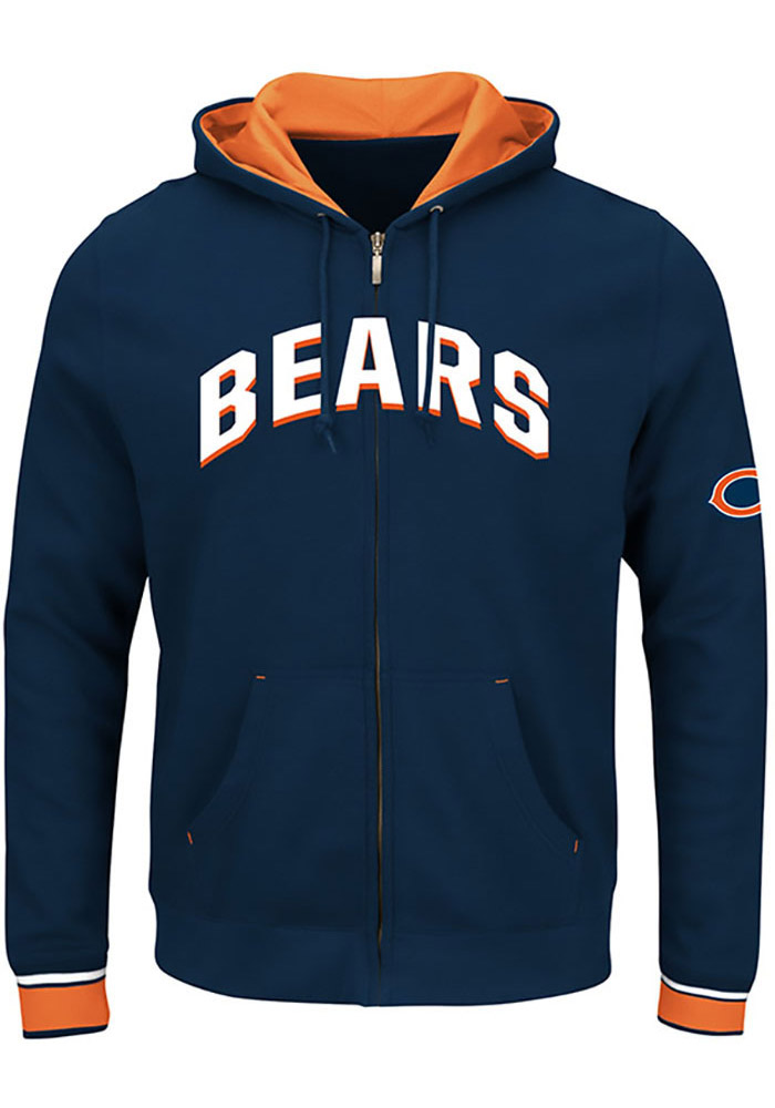 Chicago Bears Mens Navy Blue Anchor Point Big And Tall Zip Sweatshirt