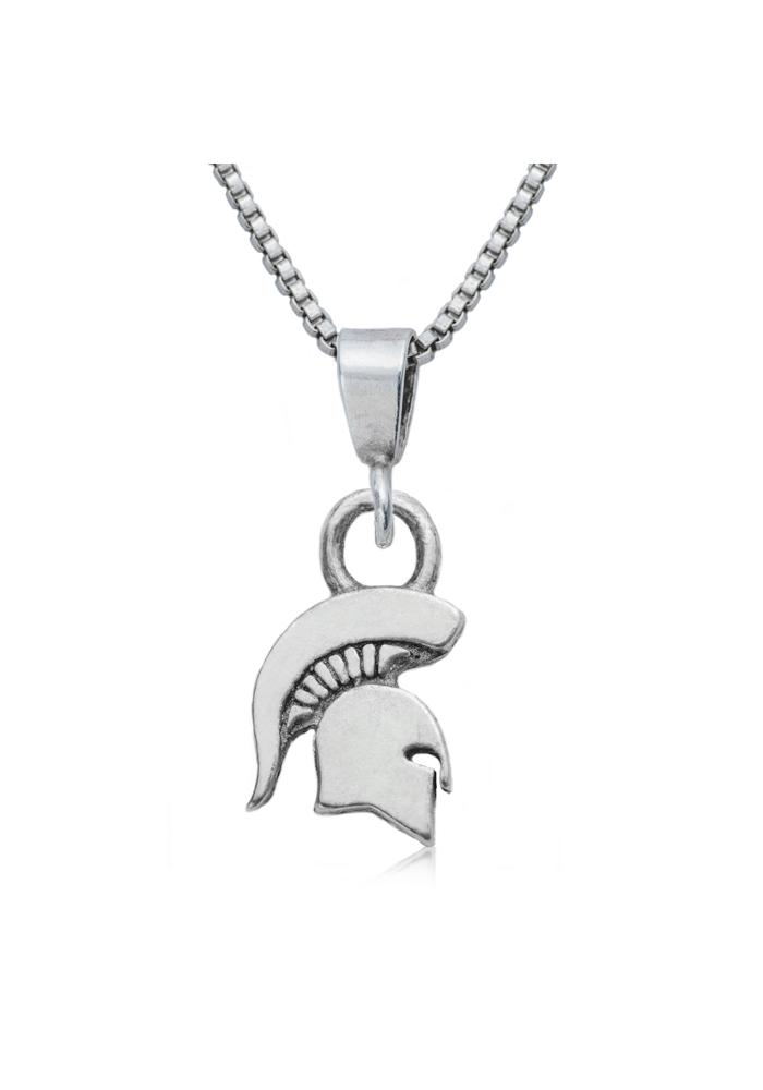 Michigan State Spartans Silver Charm Necklace