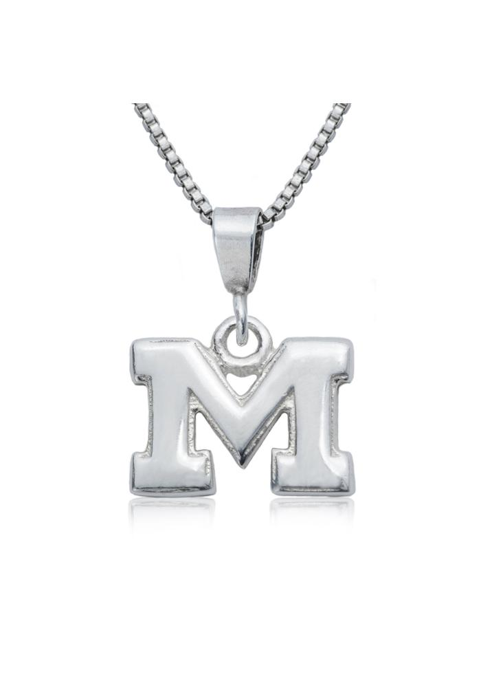 Michigan Wolverines Silver Charm Necklace